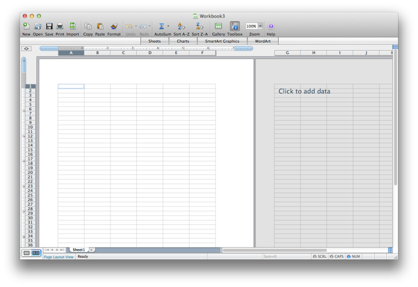 Screenshot of worksheet in Excel 2008 for Mac