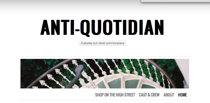 Screenshot of Anti-Quotidian blog homepage